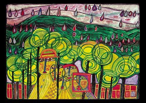 692 The Rain Falls Far From Us Falls the Rain - Friedensreich Hundertwasser