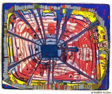 475A  Rain of Blood Is Falling Into the Garden - Friedensreich Hundertwasser