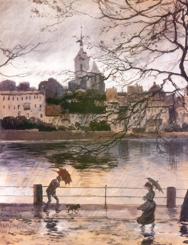 Ray Embankment in Basel in the rain - Alexandre Benois