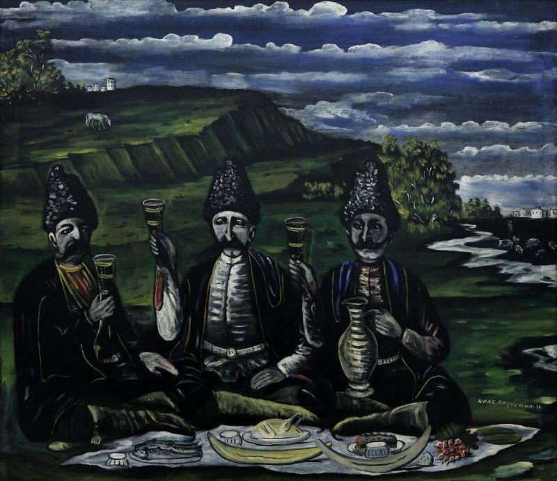 The feast of three Nobles in the valley - Niko Pirosmani