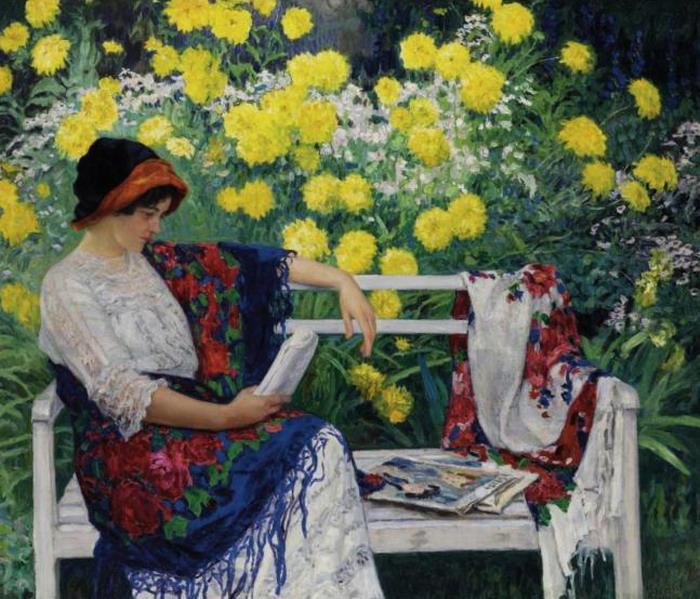 Reading in the garden - Nikolay Bogdanov-Belsky