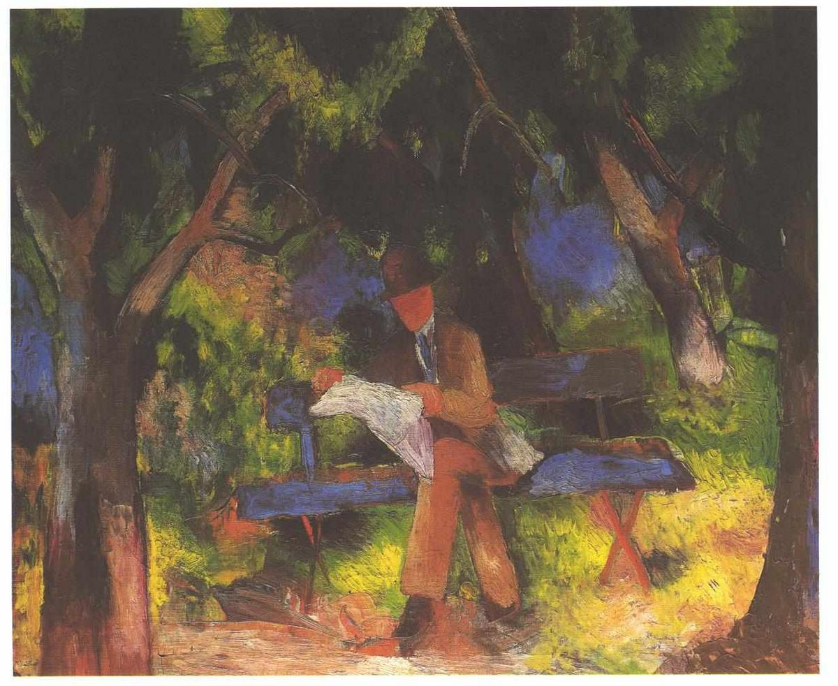 Reading man in park - August Macke