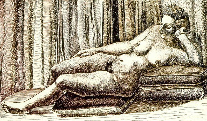 Reclining female nude - August Macke