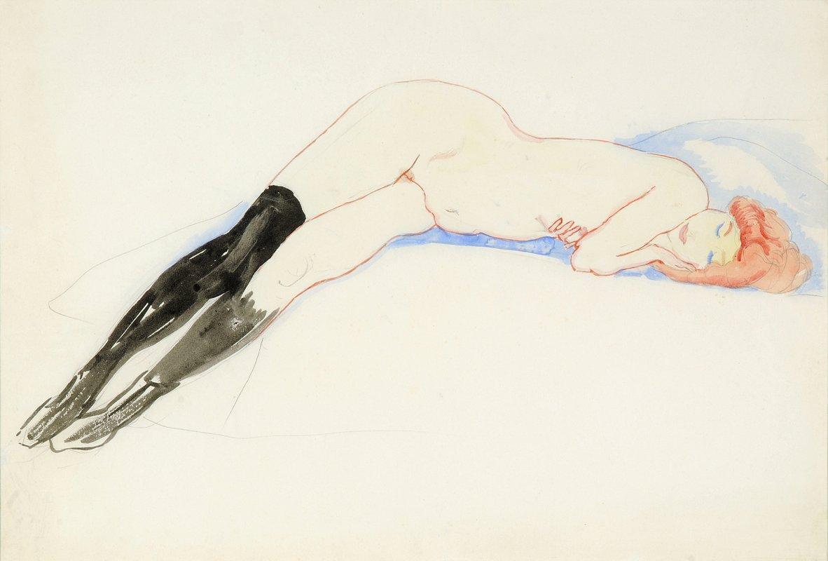 Reclining Nude with Black Stockings (Greet) - Jan Sluyters