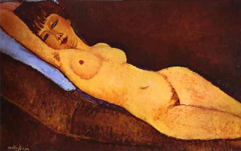 Reclining nude with Blue Cushion - Amedeo Modigliani