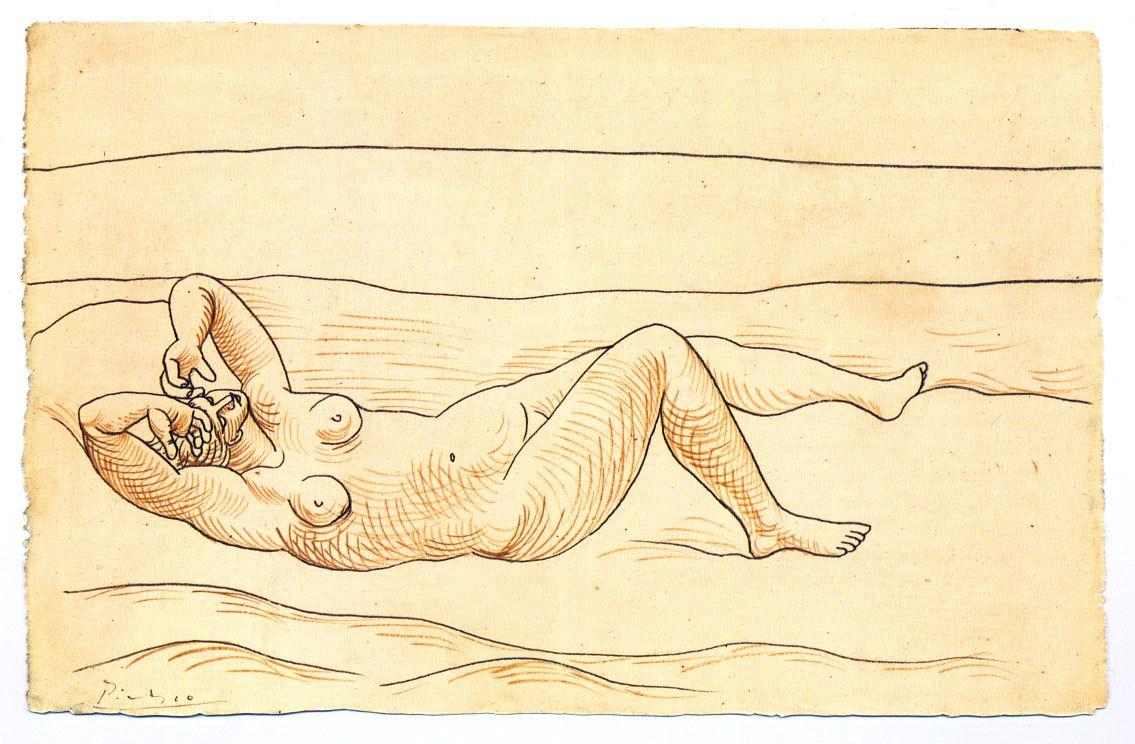 Reclining woman at the seashore - Pablo Picasso