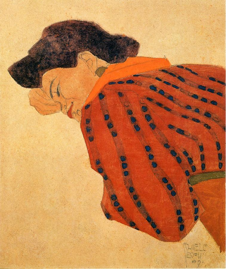 Reclining Woman with Red Blouse - Egon Schiele