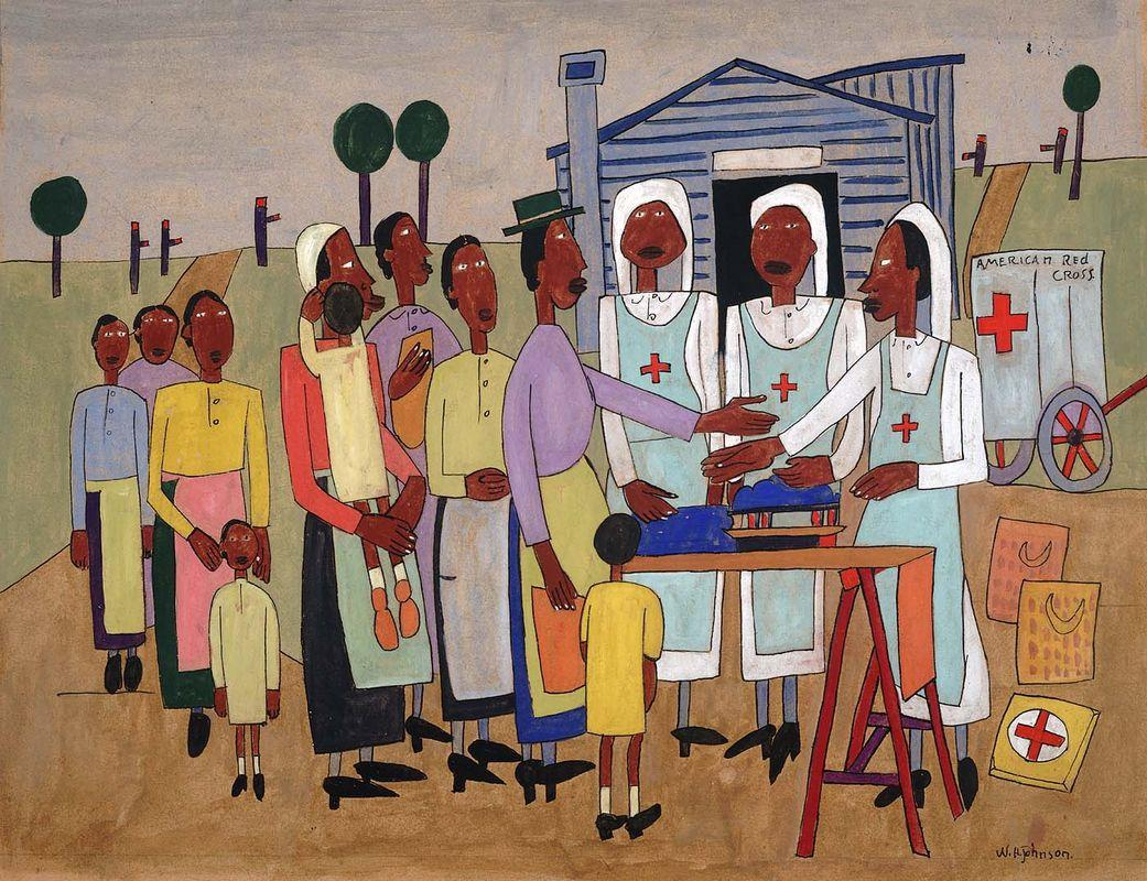 Red Cross Nurses Handing out Wool for Knitting - William H. Johnson