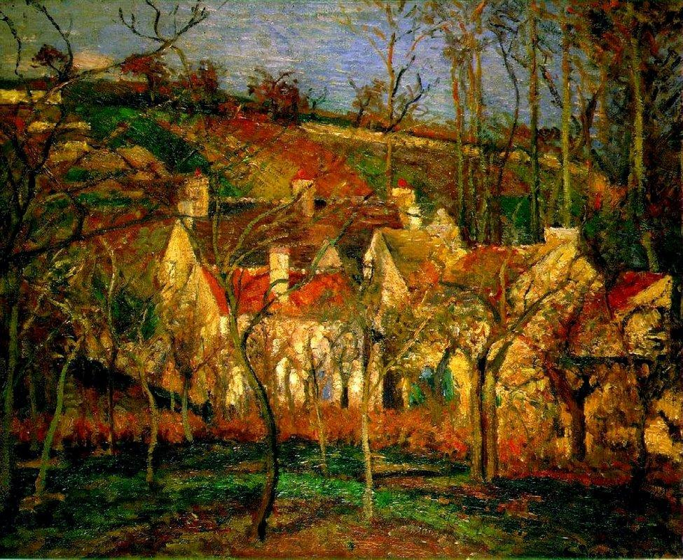 Red Roofs, Corner of a Village, Winter - Camille Pissarro