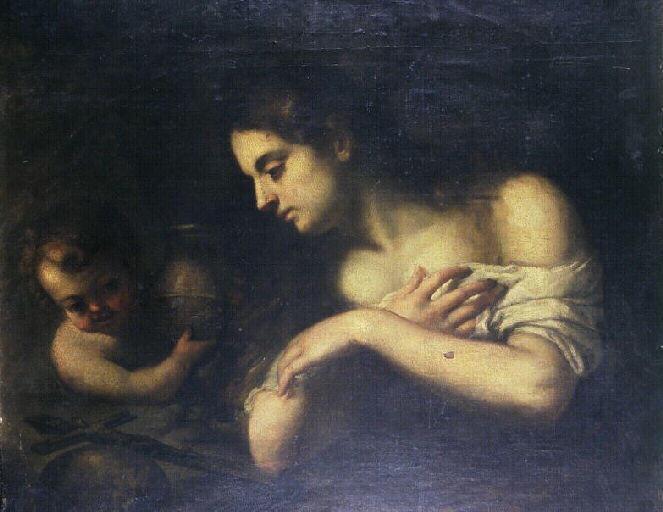 Repentant Magdalene with an angel - Bartolome Esteban Murillo