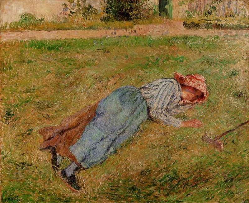 Resting, Peasant Girl Lying on the Grass, Pontoise - Camille Pissarro