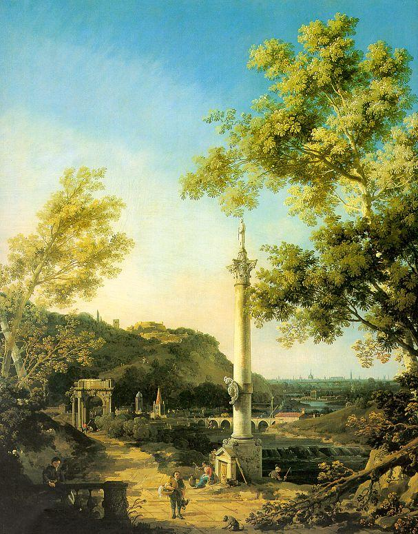 River Landscape with a Column - Canaletto