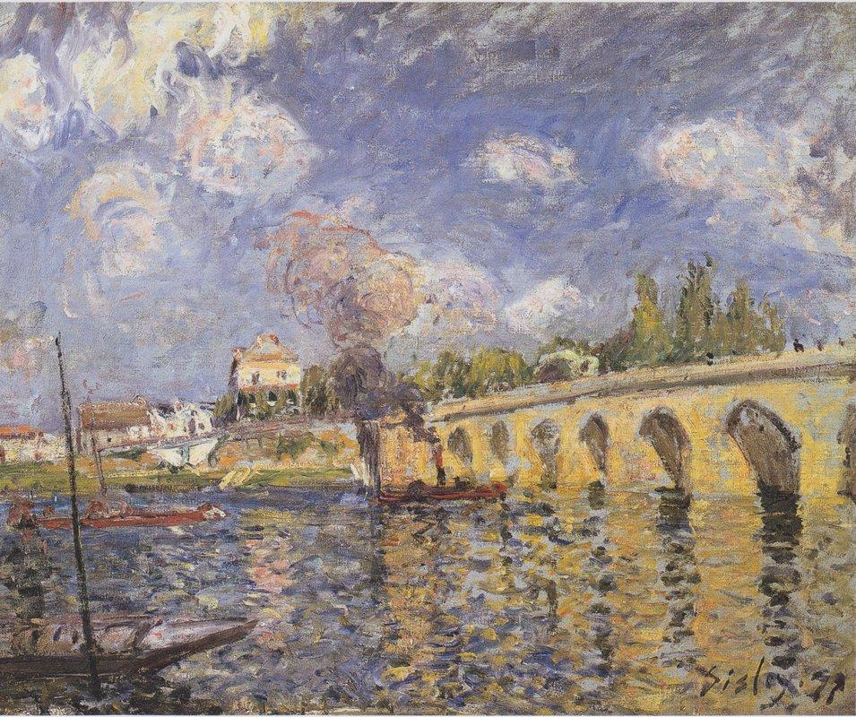 River steamboat and bridge - Alfred Sisley