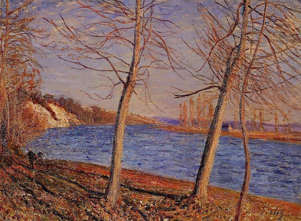 Riverbank at Veneux - Alfred Sisley