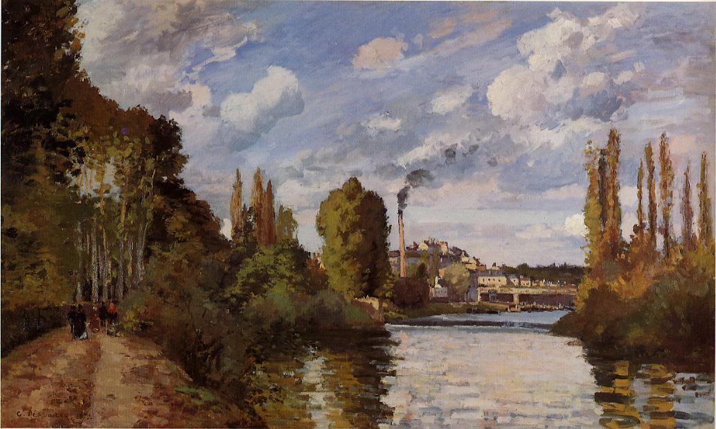 Riverbanks in Pontoise - Camille Pissarro