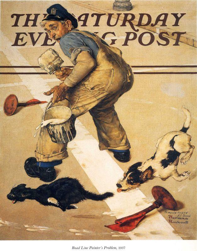 Road Line Painter's Problem - Norman Rockwell