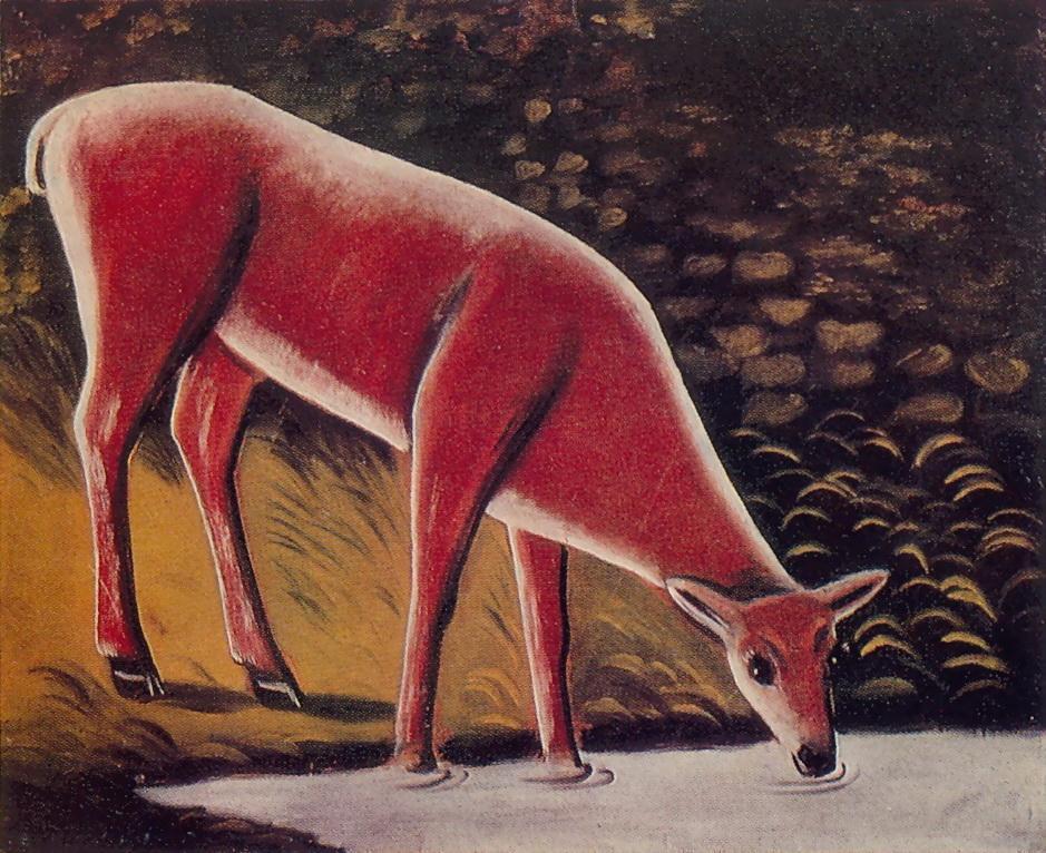 Roe Deer by a Creek - Niko Pirosmani