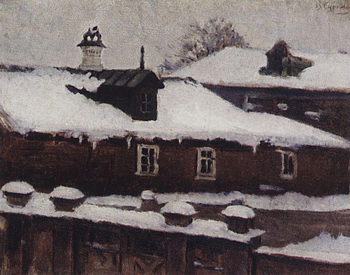 Rooftops in winter - Vasily Surikov