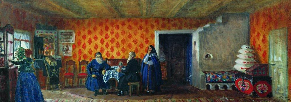 Room in the house of Prokofy Pazukhin - Boris Kustodiev