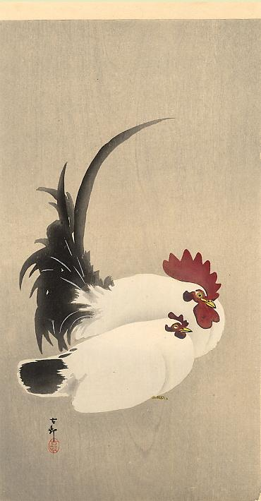 Rooster and Hen - Ohara Koson