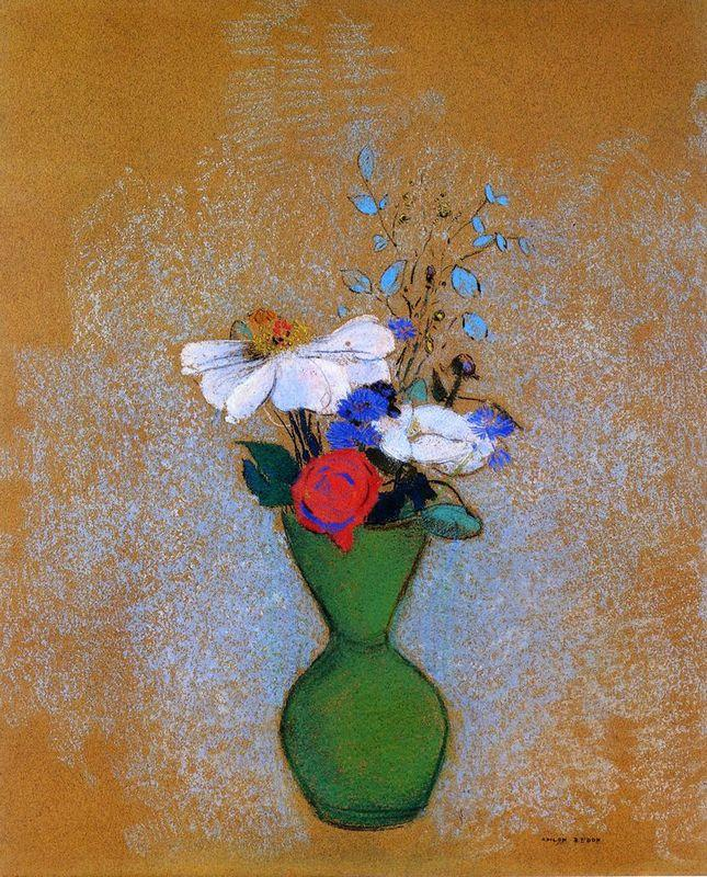 Rose, Peony and Cornflowers in a Green Vase - Odilon Redon