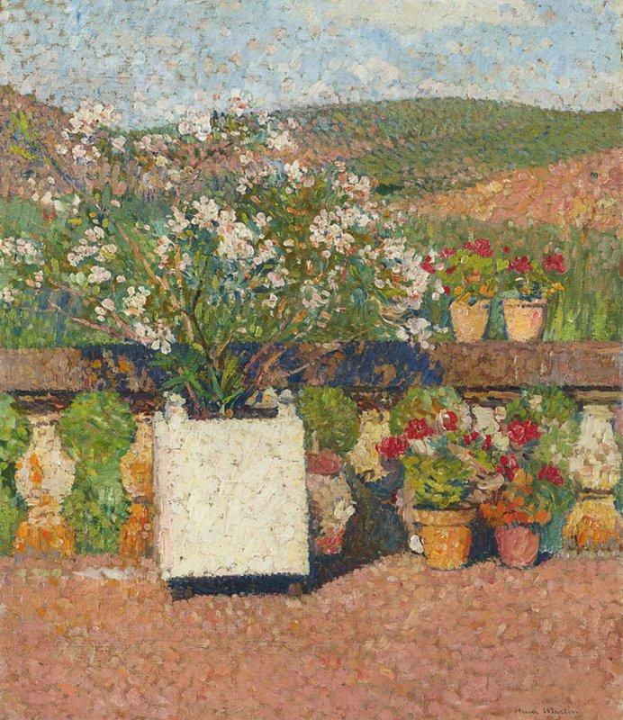 Roses and Geraniums on the Terrace at Marquayrol - Henri Martin