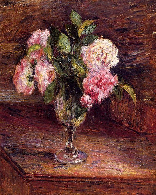 Roses in a Glass - Camille Pissarro