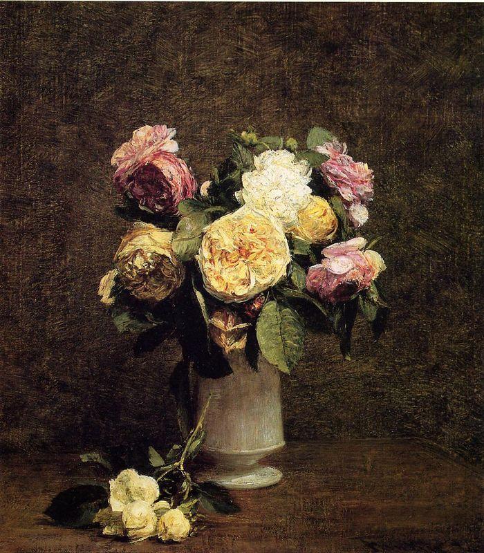 Roses in a White Porcelin Vase - Henri Fantin-Latour