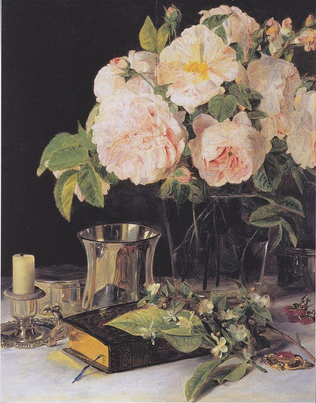 Roses in glass - Ferdinand Georg Waldmuller