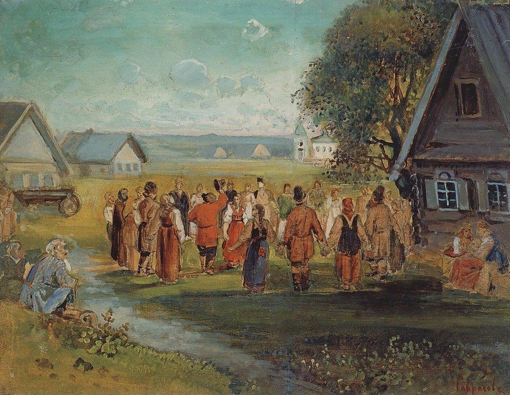 Round dance in the village - Aleksey Savrasov