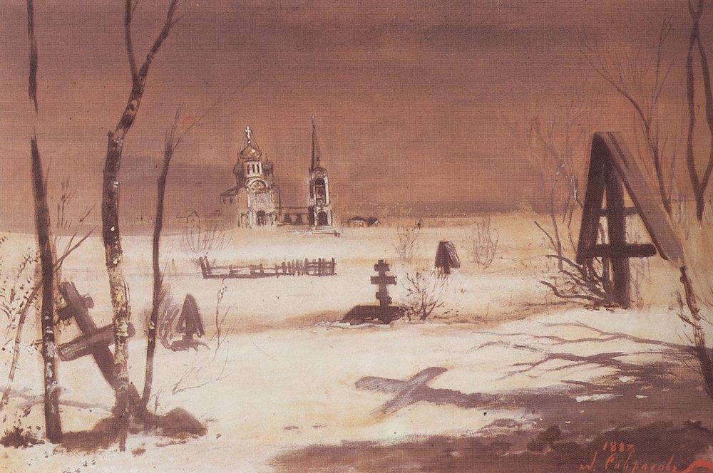Rural cemetery in the moonlight - Aleksey Savrasov