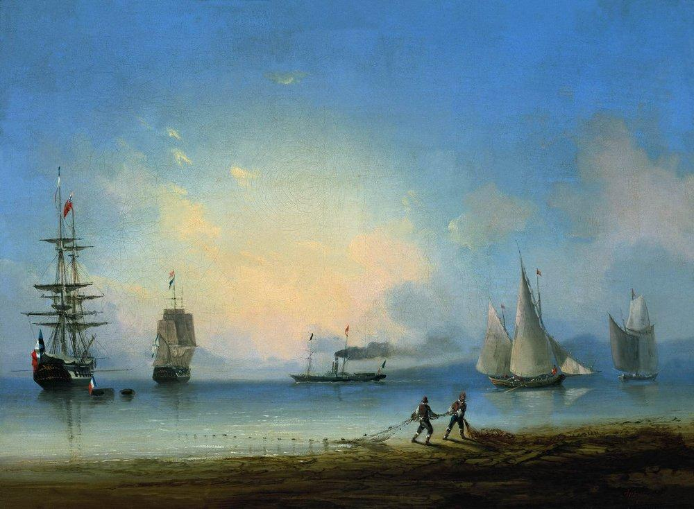 Russian and French frigates - Ivan Aivazovsky