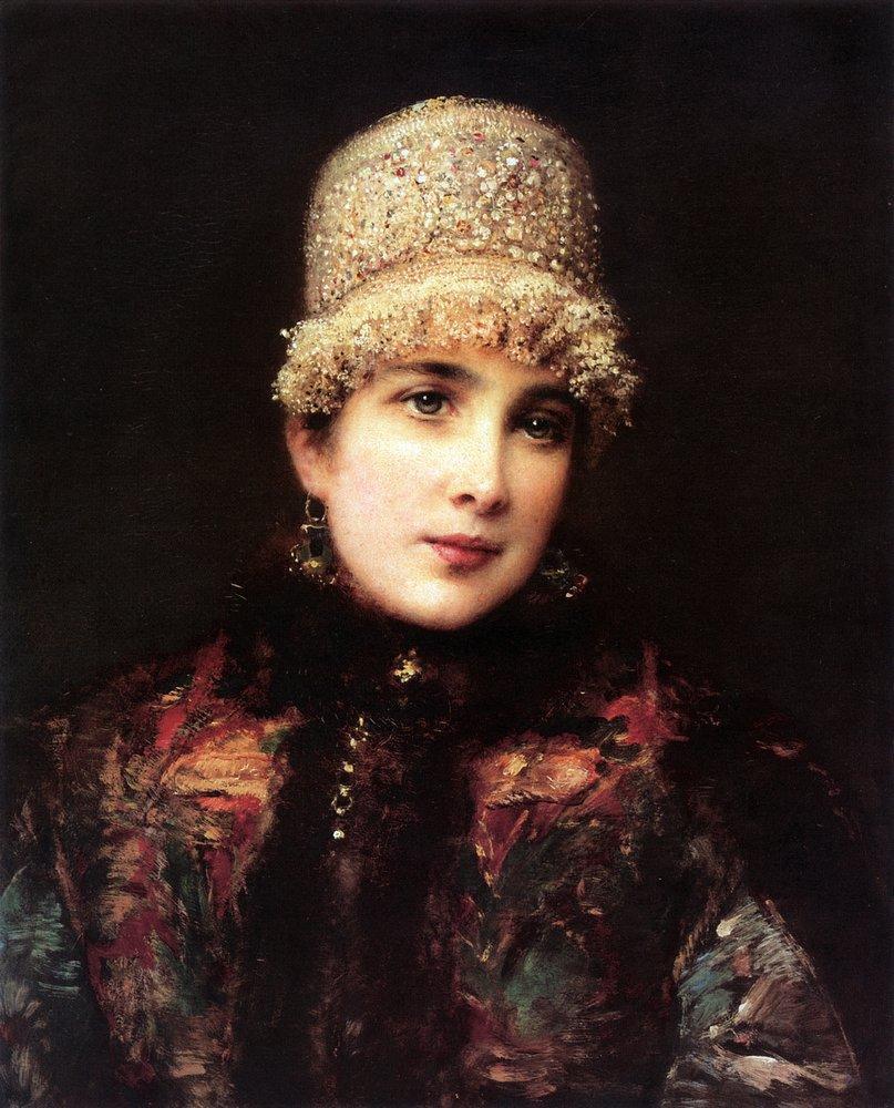 Russian Beauty in Kokoshnik - Konstantin Makovsky