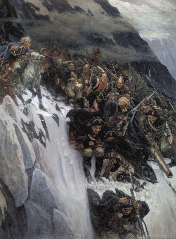 Russian Troops under Suvorov Crossing the Alps - Vasily Surikov