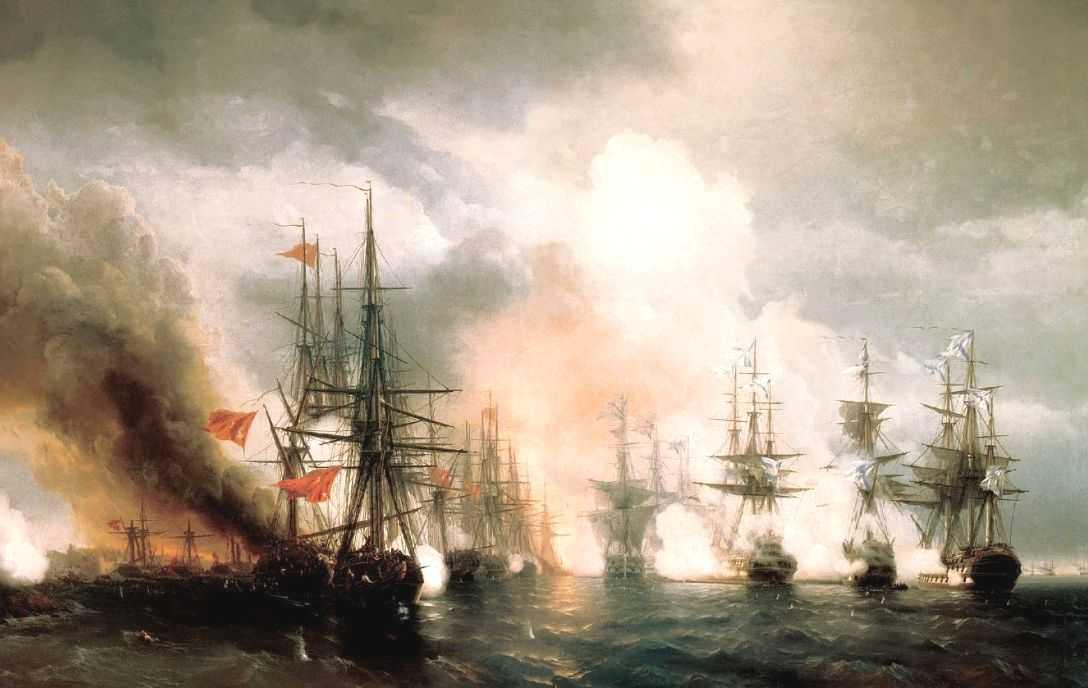 Russian-Turkish Sea Battle of Sinop on 18th November 1853 - Ivan Aivazovsky