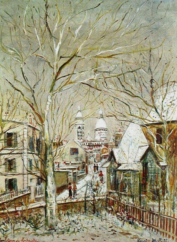 Sacre-Coeur and castle Brouillards - Maurice Utrillo