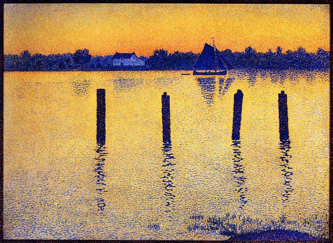 Sailboats on the River Scheldt - Theo van Rysselberghe