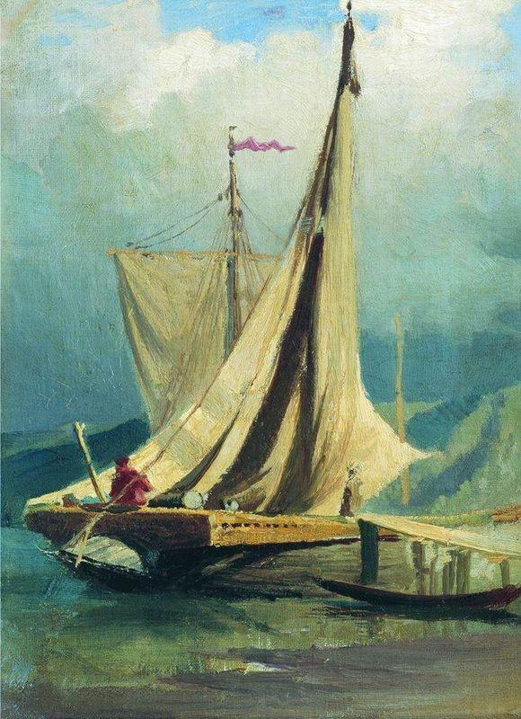 Sailboats. Study - Fyodor Vasilyev