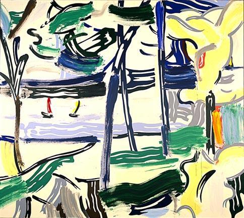 Sailboats through the trees - Roy Lichtenstein