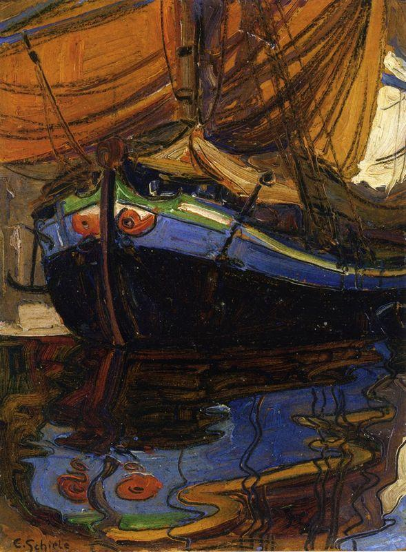 Sailing Boat with Reflection in the Water - Egon Schiele