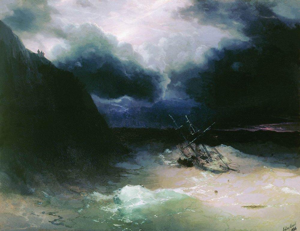 Sailing in a storm  - Ivan Aivazovsky