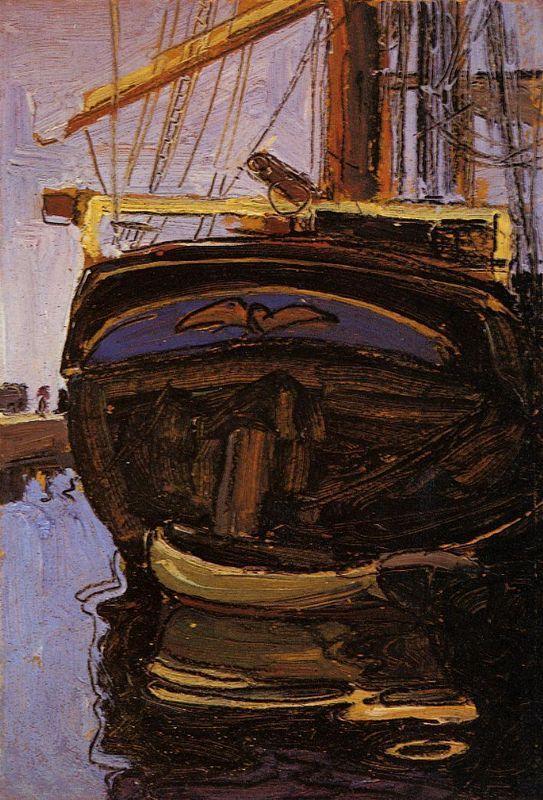 Sailing Ship with Dinghy - Egon Schiele