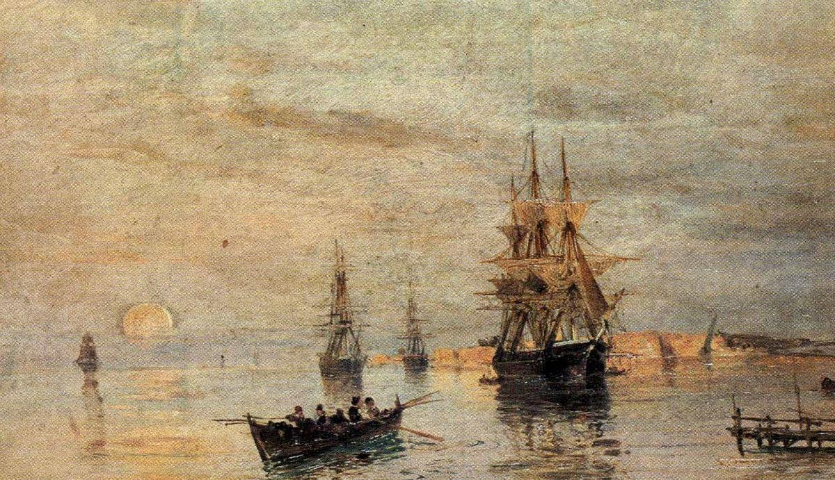 Sailing ships at dawn - Konstantinos Volanakis