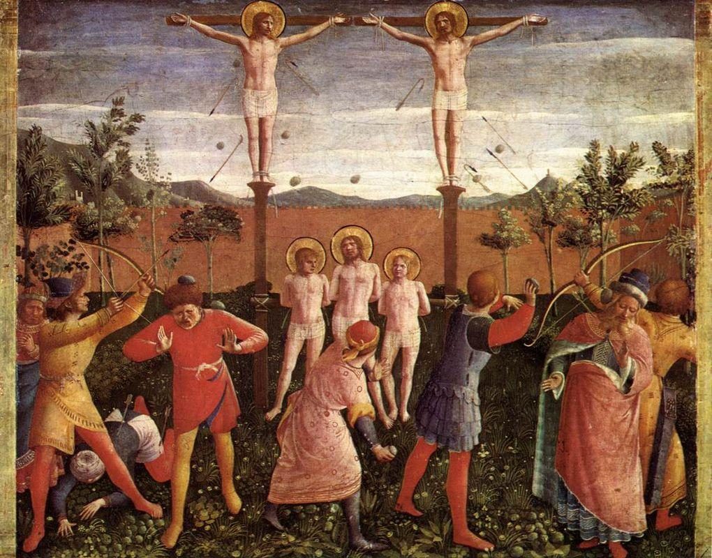 Saint Cosmas and Saint Damian Crucifixed and Stoned - Fra Angelico