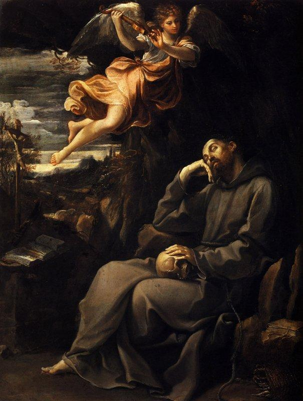 Saint Francis deadened with an angel musician - Guido Reni