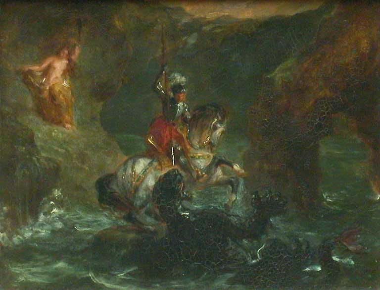 Saint George Fighting the Dragon, Perseus Delivering Andromeda - Eugene Delacroix