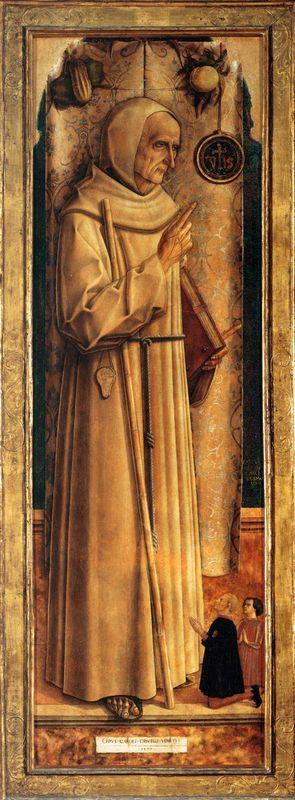 Saint James of the Marches with two kneeling donor - Carlo Crivelli