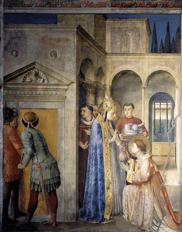 Saint Lawrence Receiving the Treasures of the Church from Pope Sixtus II - Fra Angelico
