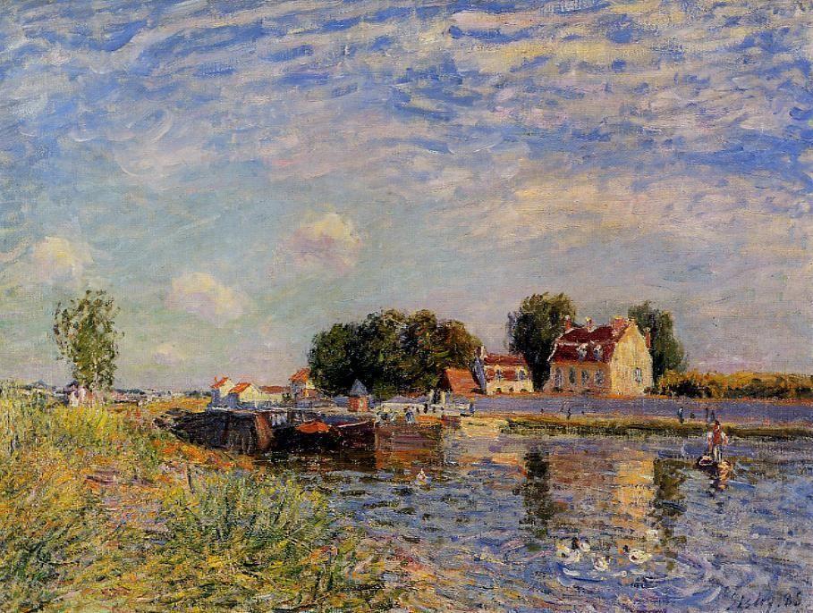 Saint Mammes, Ducks on Canal - Alfred Sisley