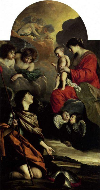 Saint Michael dedicating his weapons to the Virgin - Le Nain brothers